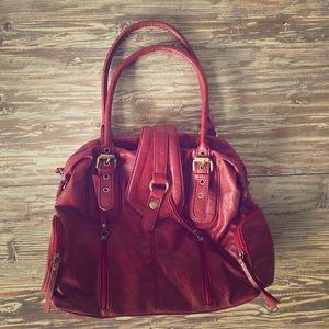 Deep red hobo shoulder bag / purse - preppy / boho